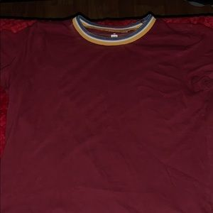 A burgundy shirt